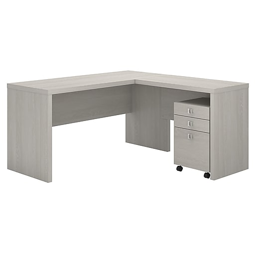 Office By Kathy Ireland Echo L Shaped Desk With Mobile File Cabinet Gray Sand Installed Ech008gssufa