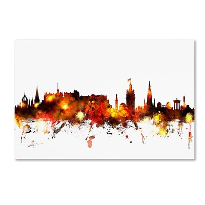 Trademark Fine Art Michael Tompsett 'Edinburgh Scotland Skyline Red' 12