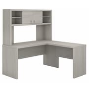 Office by kathy ireland® Echo L Shaped Desk with Hutch, Gray Sand, Installed (ECH031GSFA)
