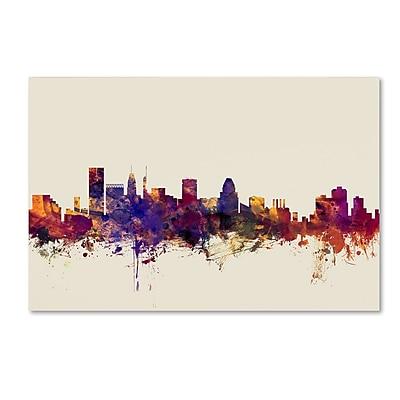 "Trademark Fine Art Michael Tompsett 'Baltimore Maryland Skyline' 12"" x 19"" Canvas Stretched (190836025350)"