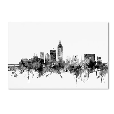 Trademark Fine Art Michael Tompsett 'Indianapolis IN Skyline B&W' 12