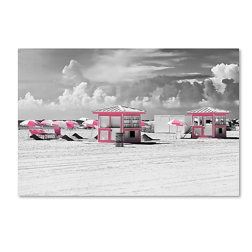 """Trademark Fine Art Philippe Hugonnard 'Pink Beach Houses Miami' 12"""" x 19"""" Canvas Stretched (190836116409)"""