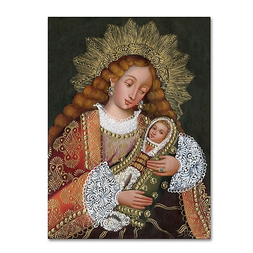 """Trademark Fine Art Sergio Cruze 'The Virgin and Son IV' 14"""" x 19"""" Canvas Stretched (190836012688)"""