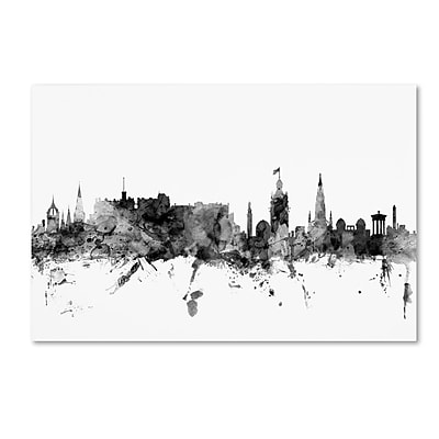 Trademark Fine Art Michael Tompsett 'Edinburgh Scotland Skyline B&W' 12