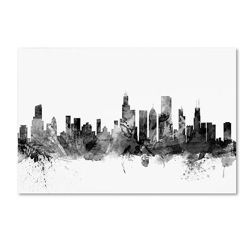 "Trademark Fine Art Michael Tompsett 'Chicago Illinois Skyline B&W' 12"" x 19"" Canvas Stretched (190836032211)"