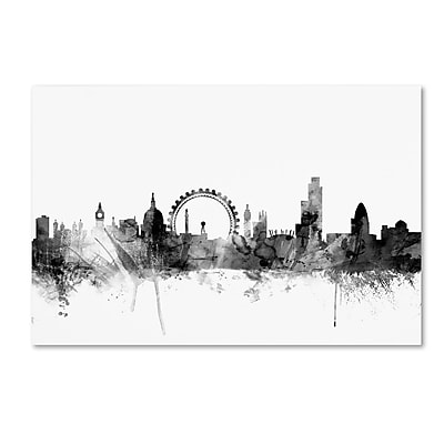 Trademark Fine Art Michael Tompsett 'London England Skyline B&W 2' 12