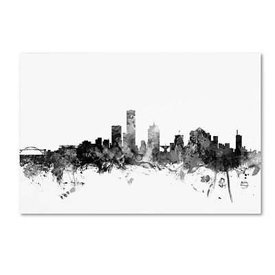 Trademark Fine Art Michael Tompsett 'Milwaukee WI Skyline B&W' 12