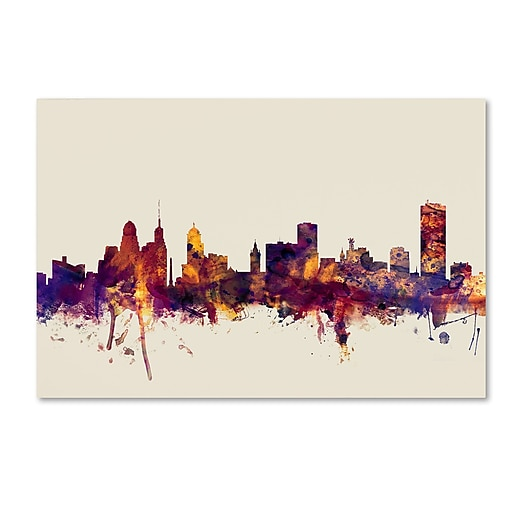 "Trademark Fine Art Michael Tompsett 'Buffalo New York Skyline' 12"" x 19"" Canvas Stretched (190836029358)"
