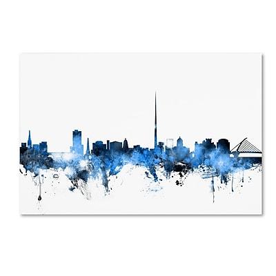 Trademark Fine Art Michael Tompsett 'Dublin Ireland Skyline White' 12