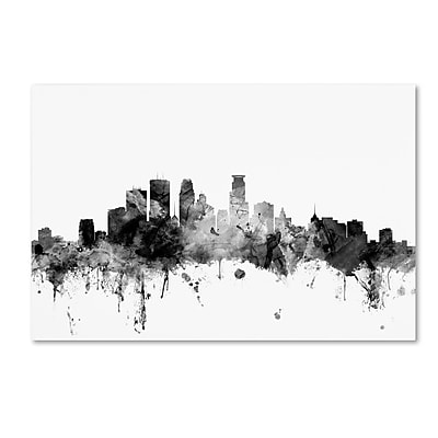 Trademark Fine Art Michael Tompsett 'Minneapolis MN Skyline B&W' 12
