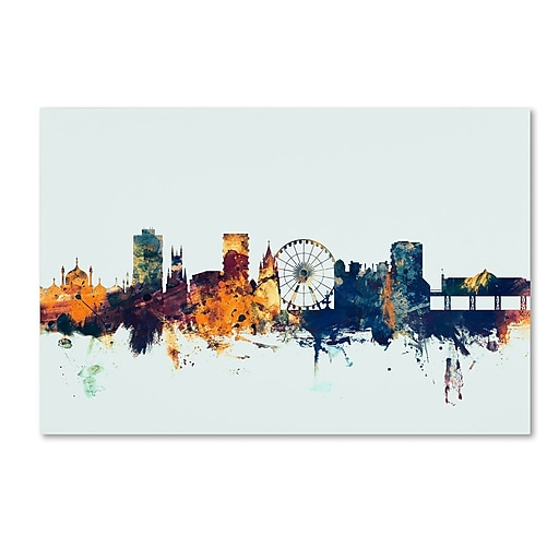 "Trademark Fine Art Michael Tompsett 'Brighton England Skyline Blue' 12"" x 19"" Canvas Stretched (190836088287)"