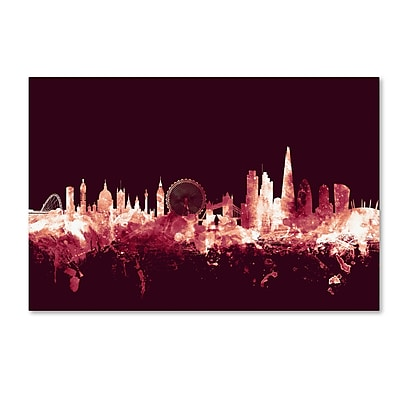 Trademark Fine Art Michael Tompsett 'London England Skyline Maroon' 12