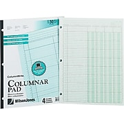 Wilson Jones Column Write Columnar Pad, 50 Pages, Green (WG7204)