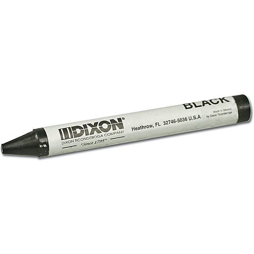 Dixon American Classic Professional Crayons, Black, Dozen (05005)