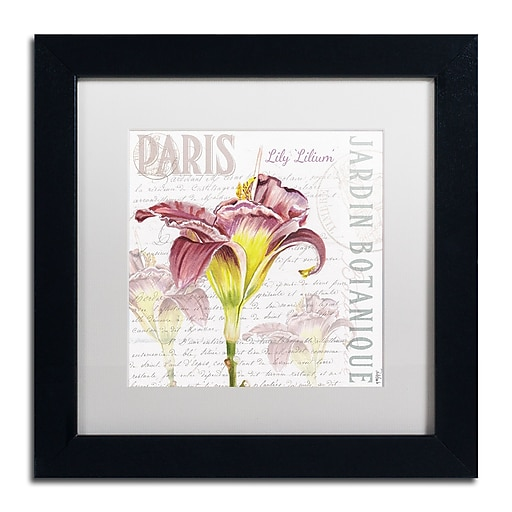 "Trademark Fine Art Jennifer Redstreake 'Paris Botanique Lily Burgundy' 11"" x 11"" Matted Framed (886511944039)"