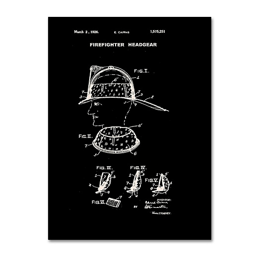 "Trademark Fine Art Claire Doherty 'Firefighter Headgear Patent 1926 Black' 14"" x 19"" Canvas Stretched (886511940451)"