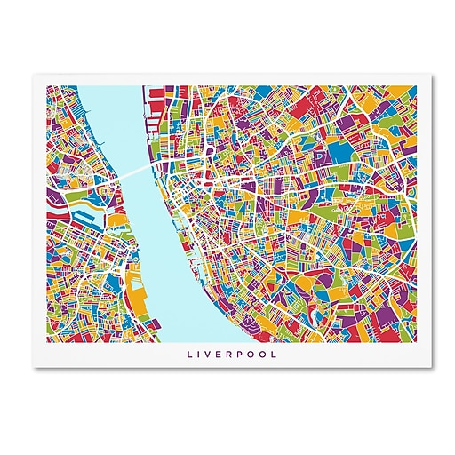 "Trademark Fine Art Michael Tompsett 'Liverpool England Street Map 4' 14"" x 19"" Canvas Stretched (190836020232)"