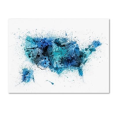 Trademark Fine Art Michael Tompsett 'US Paint Splashes Map' 14