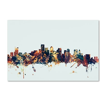 Trademark Fine Art Michael Tompsett 'Boston MA Skyline Blue' 12