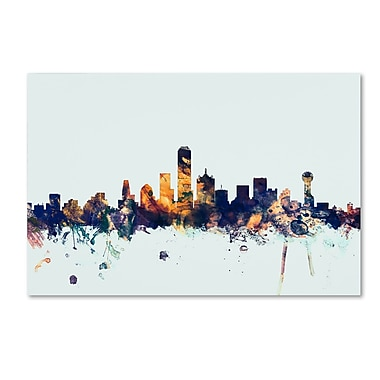 Trademark Fine Art Michael Tompsett 'Dallas Texas Skyline Blue' 12