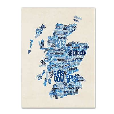Trademark Fine Art Michael Tompsett 'Scotland Typography Text Map 2' 14