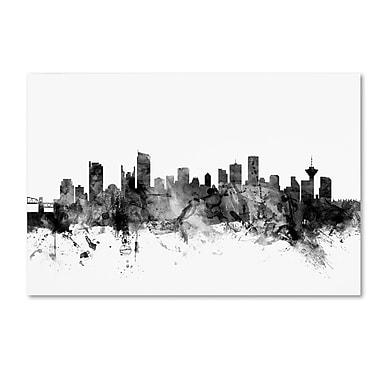 Trademark Fine Art Michael Tompsett 'Vancouver Canada Skyline B&W' 12