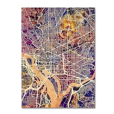 "Trademark Fine Art Michael Tompsett 'Washington DC Street Map 2' 14"" x 19"" Canvas Stretched (190836020713)"