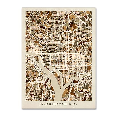 Trademark Fine Art Michael Tompsett 'Washington DC Street Map 3' 14