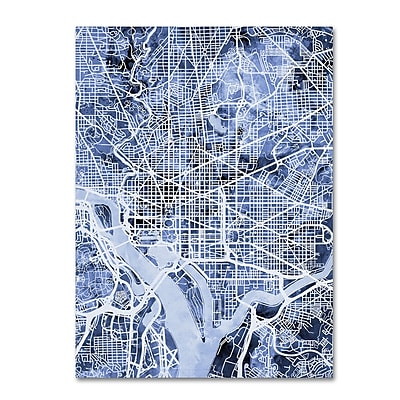 Trademark Fine Art Michael Tompsett 'Washington DC Street Map B&W' 14
