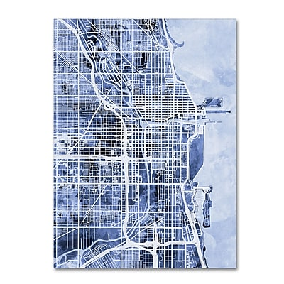 Trademark Fine Art Michael Tompsett 'Chicago City Street Map B&W' 14