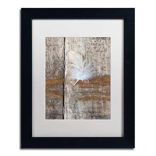 """Trademark Fine Art Cora Niele 'Feather on Wood I' 11"""" x 14"""" Matted Framed (190836255382)"""