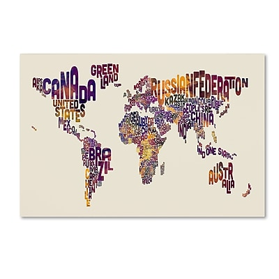 Trademark Fine Art Michael Tompsett 'Text Map of the World' 12