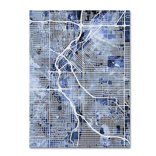 "Trademark Fine Art Michael Tompsett 'Denver Colorado Street Map B&W' 14"" x 19"" Canvas Stretched (190836018338)"
