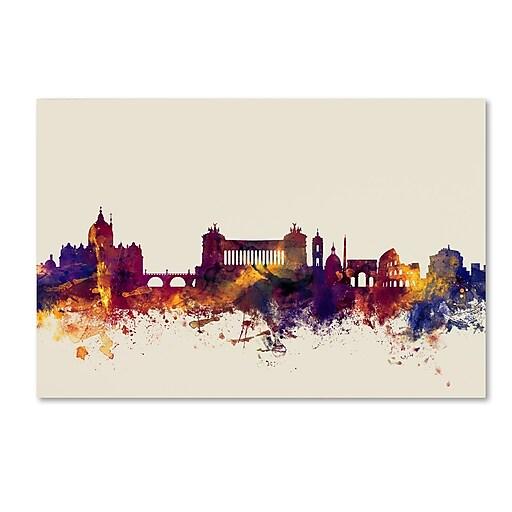 "Trademark Fine Art Michael Tompsett 'Rome Italy Skyline' 12"" x 19"" Canvas Stretched (190836023431)"