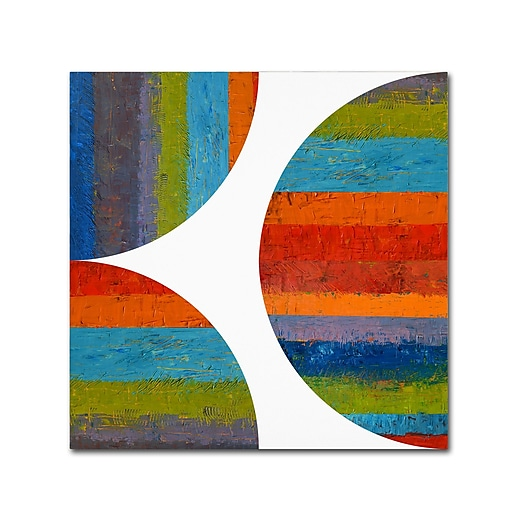"""Trademark Fine Art Michelle Calkins 'Half Circle and Quarter Rounds 1.0' 18"""" x 18"""" Canvas Stretched (190836073917)"""