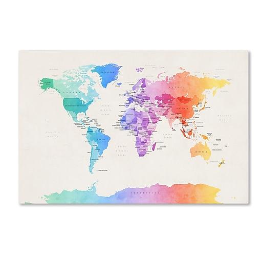 "Trademark Fine Art Michael Tompsett 'Watercolor Political World Map' 12"" x 19"" Canvas Stretched (190836013852)"