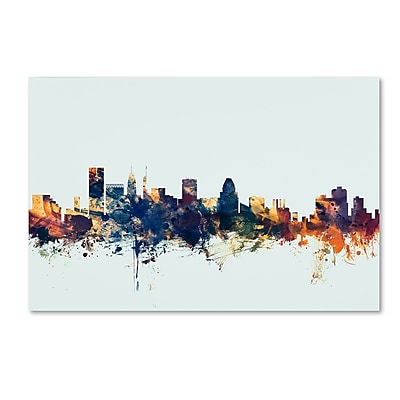 Trademark Fine Art Michael Tompsett 'Baltimore MD Skyline Blue' 12