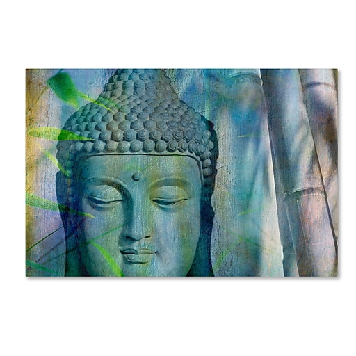 """Trademark Fine Art Cora Niele 'Buddha with Bamboo' 12"""" x 19"""" Canvas Stretched (190836252046)"""