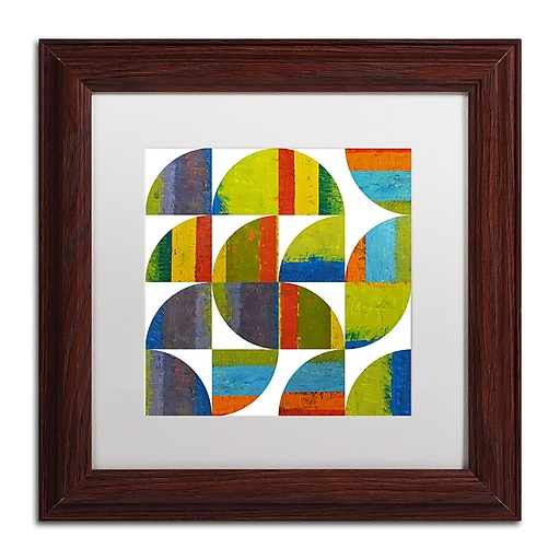 "Trademark Fine Art Michelle Calkins 'Quarter Rounds 2.0' 11"" x 11"" Matted Framed (190836075447)"