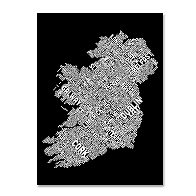 Trademark Fine Art Michael Tompsett 'Ireland Eire City Text Map B&W' 14