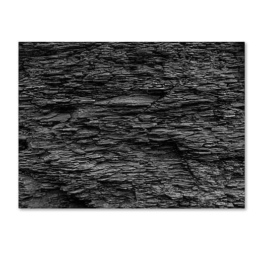 "Trademark Fine Art Kurt Shaffer 'Shale Abstract in Black and White' 14"" x 19"" Canvas Stretched (886511966109)"