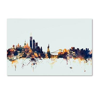 Trademark Fine Art Michael Tompsett 'New York Skyline Blue' 12