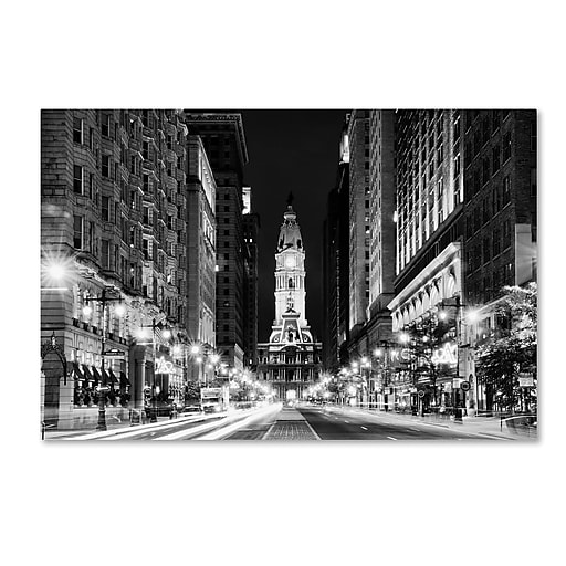 "Trademark Fine Art Philippe Hugonnard 'City Hall Philadelphia' 12"" x 19"" Canvas Stretched (190836116003)"