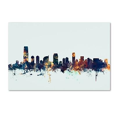 Trademark Fine Art Michael Tompsett 'Jersey City NJ Skyline Blue' 12