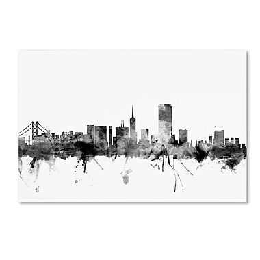 Trademark Fine Art Michael Tompsett 'San Francisco City Skyline B&W' 12
