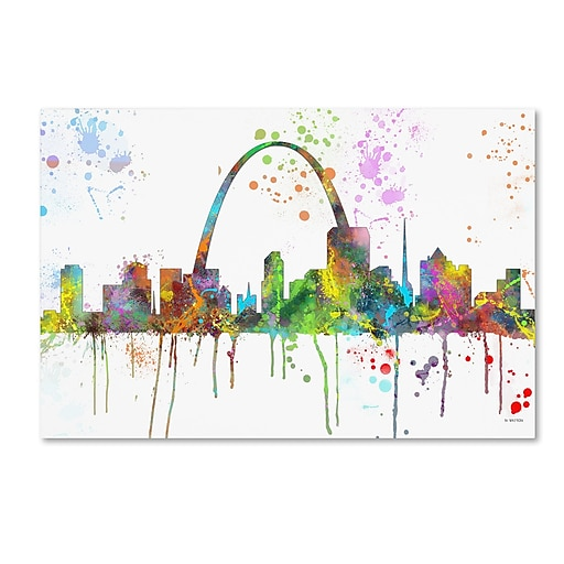 "Trademark Fine Art Marlene Watson 'St Louis Missouri Skyline Mclr-1' 12"" x 19"" Canvas Stretched (190836211029)"