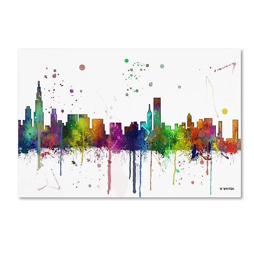 """Trademark Fine Art Marlene Watson 'Chicago Illinois Skyline Mclr-1' 12"""" x 19"""" Canvas Stretched (190836202904)"""