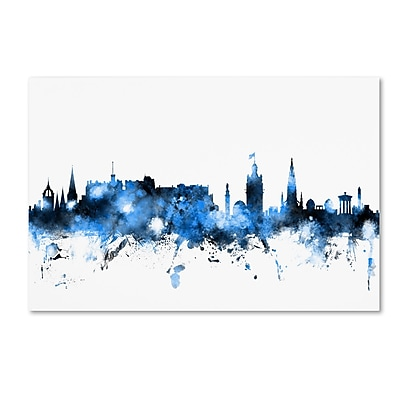 "Trademark Fine Art Michael Tompsett 'Edinburgh Skyline White' 12"" x 19"" Canvas Stretched (190836091287)"