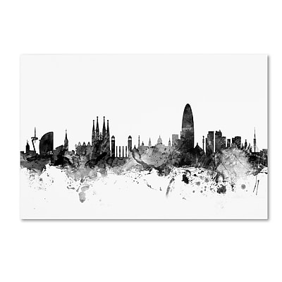 Trademark Fine Art Michael Tompsett 'Barcelona Spain Skyline B&W' 12