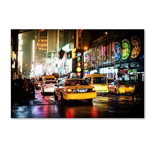 "Trademark Fine Art Philippe Hugonnard 'Time Night NYC' 12"" x 19"" Canvas Stretched (190836113507)"